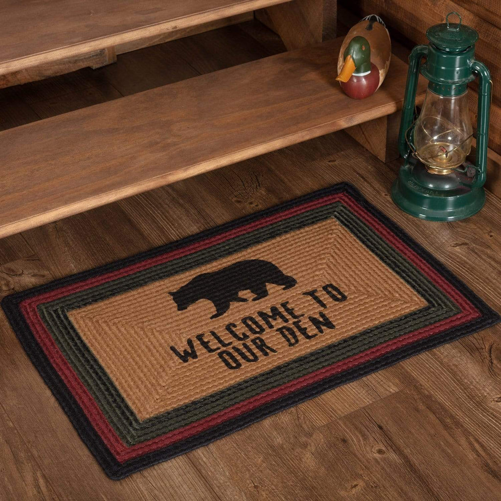 Oak & Asher Rug Wyatt Stenciled Bear Jute Rug Rect Welcome to Our Den 20x30