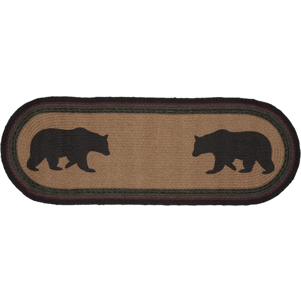 Oak & Asher Runner Wyatt Stenciled Bear Jute Runner Oval 13x36