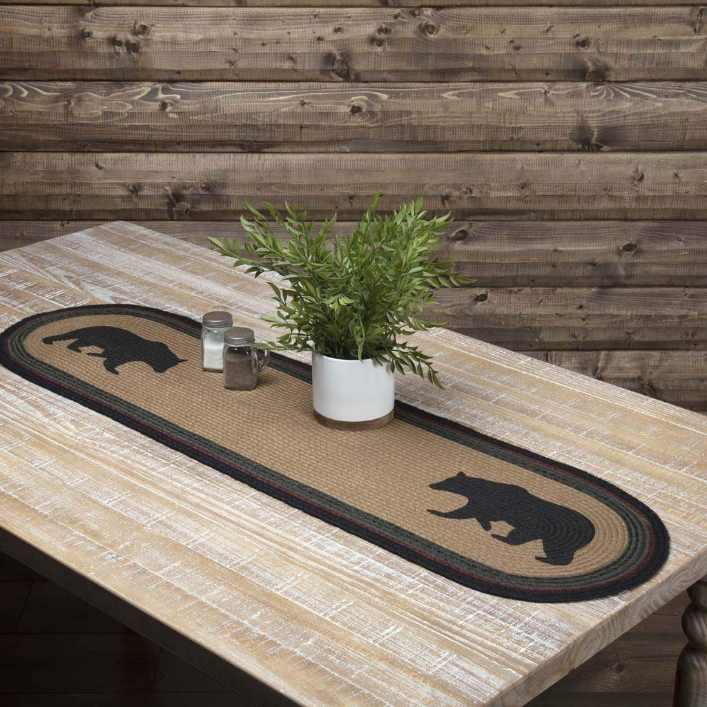 Oak & Asher Runner Wyatt Stenciled Bear Jute Runner Oval 13x48