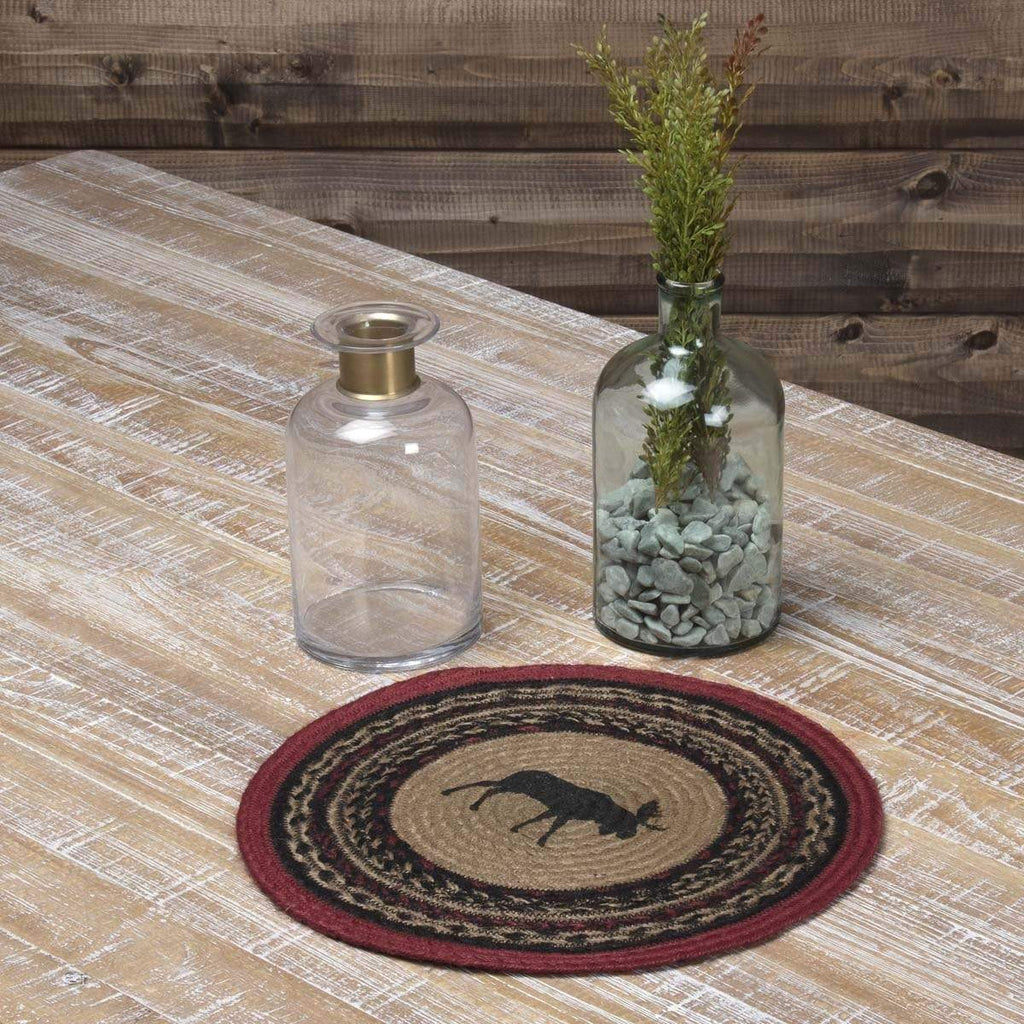 Oak & Asher Tablemat Cumberland Stenciled Moose Jute Tablemat 13 Set of 6
