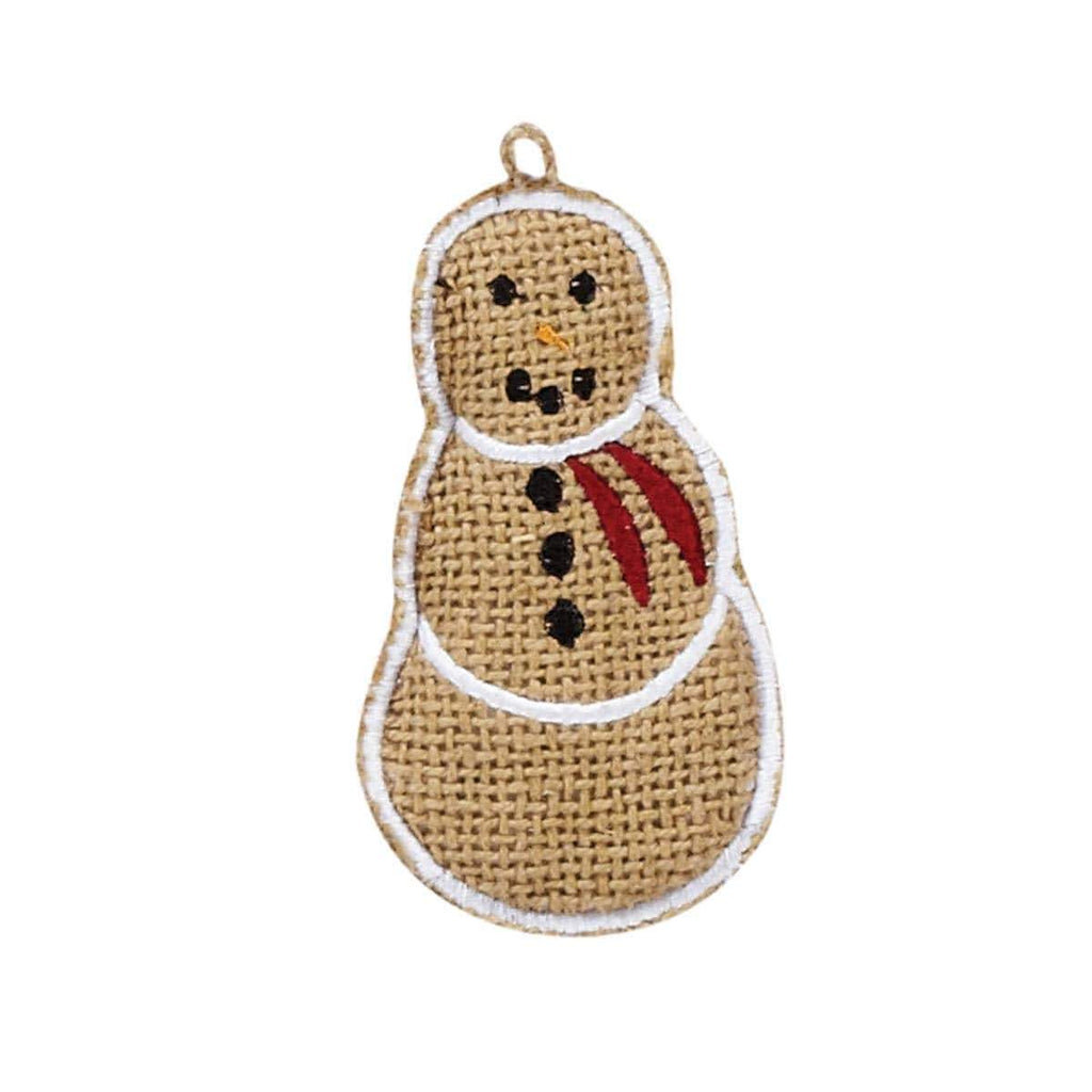 "Seasons Crest Ornament Burlap Snowman 4"" Ornament Set of 6"