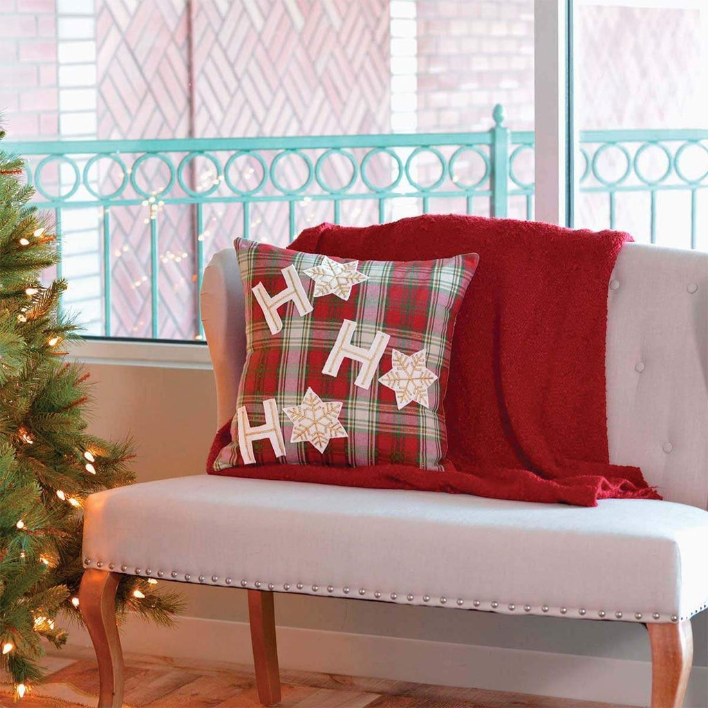 Seasons Crest Pillow Cover HO HO Holiday Pillow 18x18