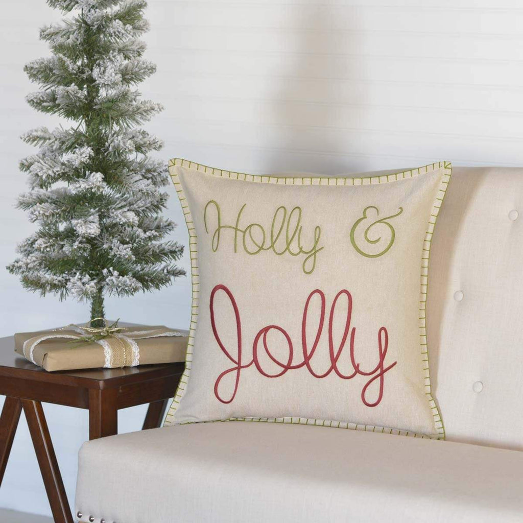 Seasons Crest Pillow Cover Holly & Jolly Pillow 18x18