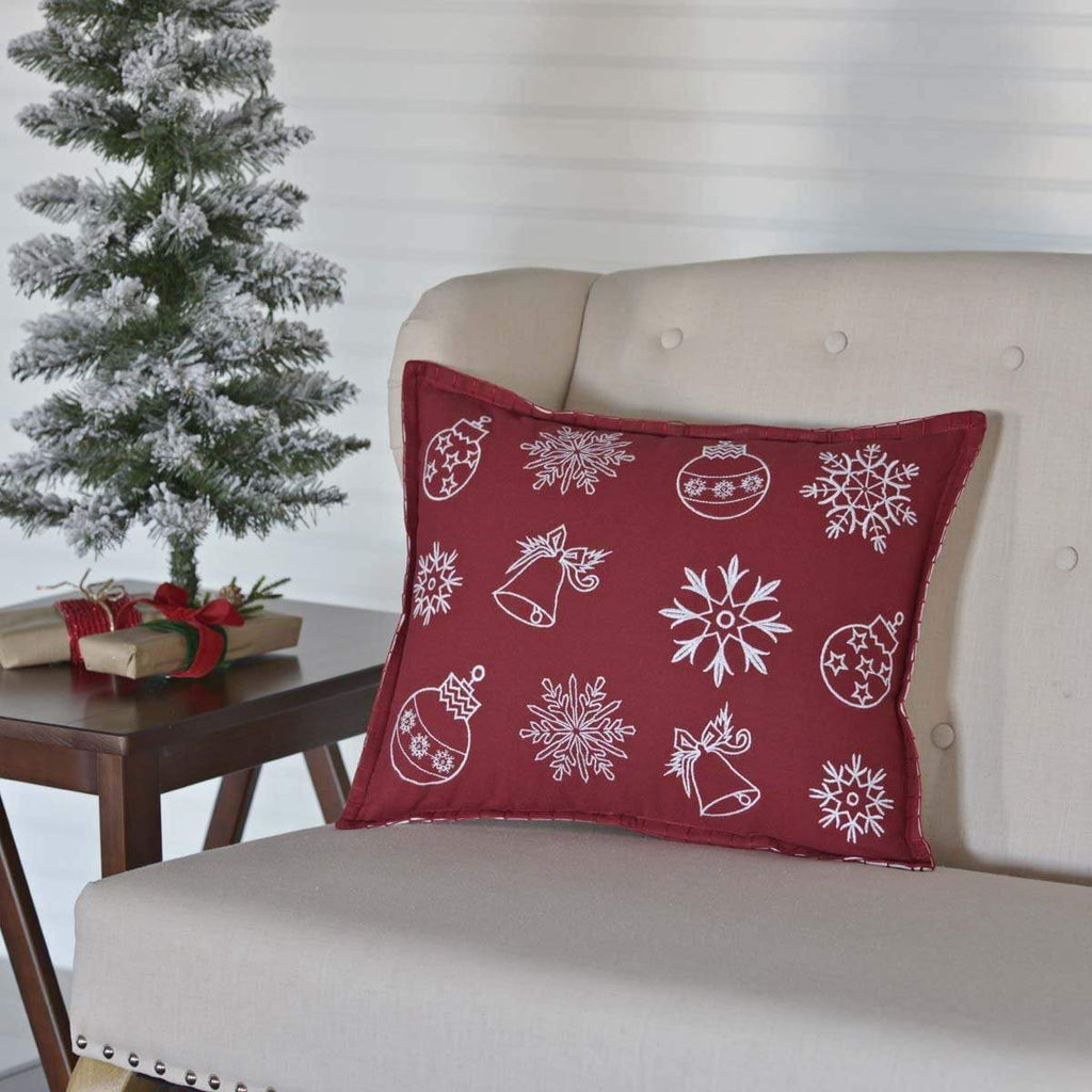 Seasons Crest Pillow Cover Snow Ornaments Pillow 14x18