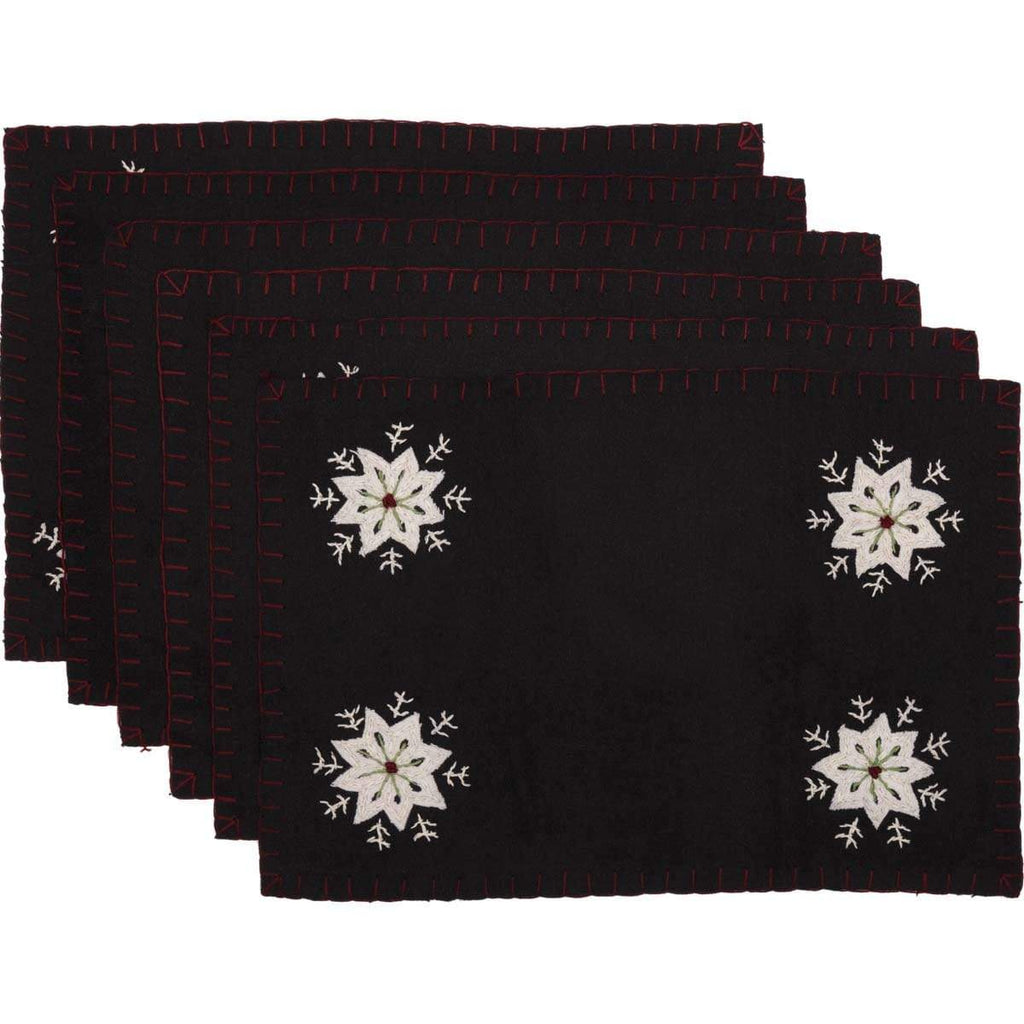 Seasons Crest Placemat Christmas Snowflake Placemat Felt Embroidery Set 6-12x18