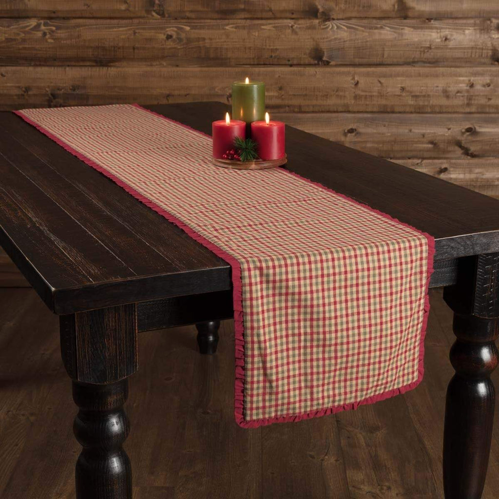 Seasons Crest Runner Jonathan Plaid Ruffled Runner 13x90