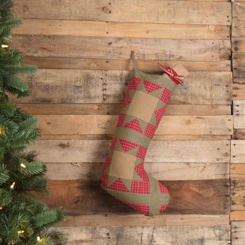 Seasons Crest Stocking Dolly Star Red Patch Stocking 12x20