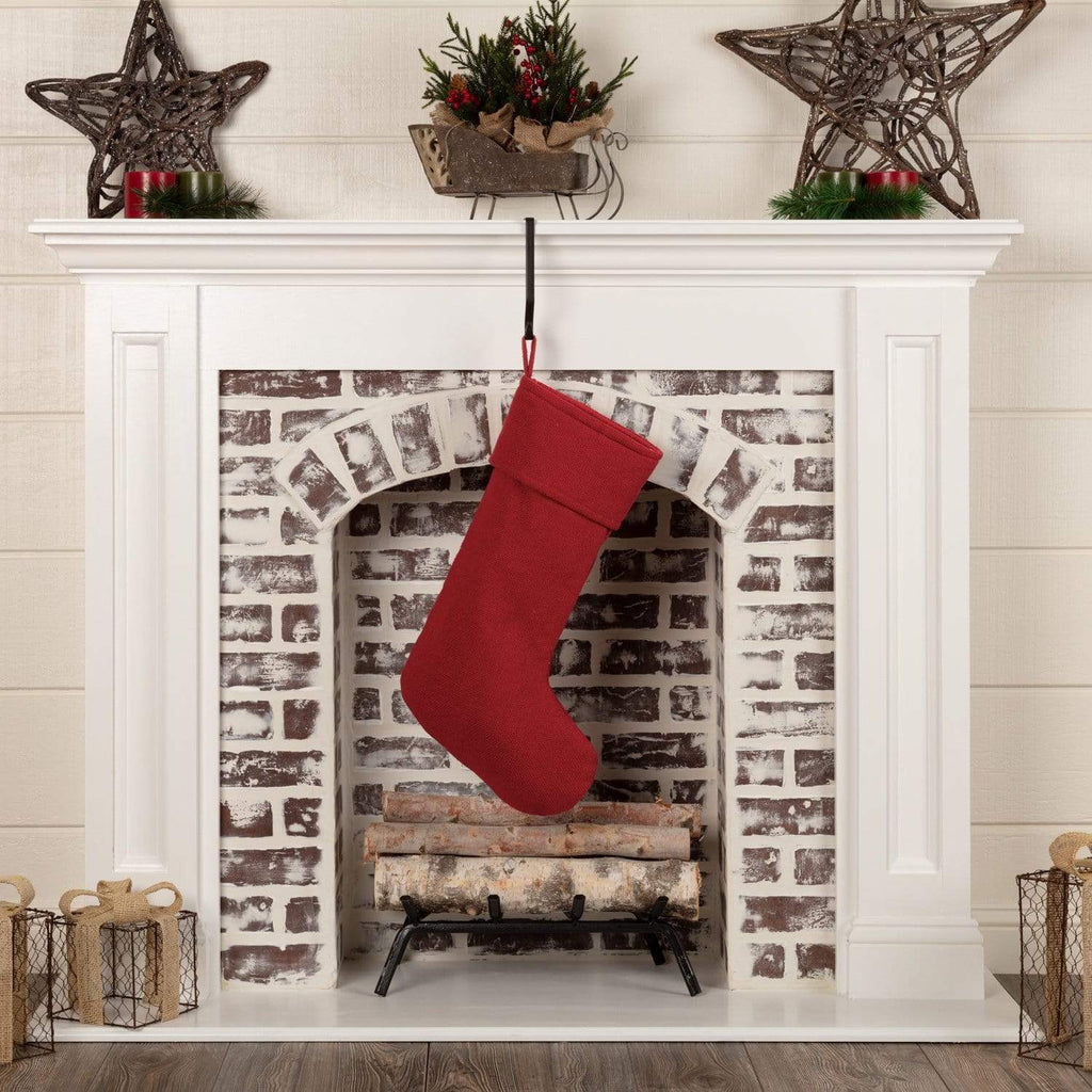 Seasons Crest Stocking Festive Red Burlap Stocking 11x20