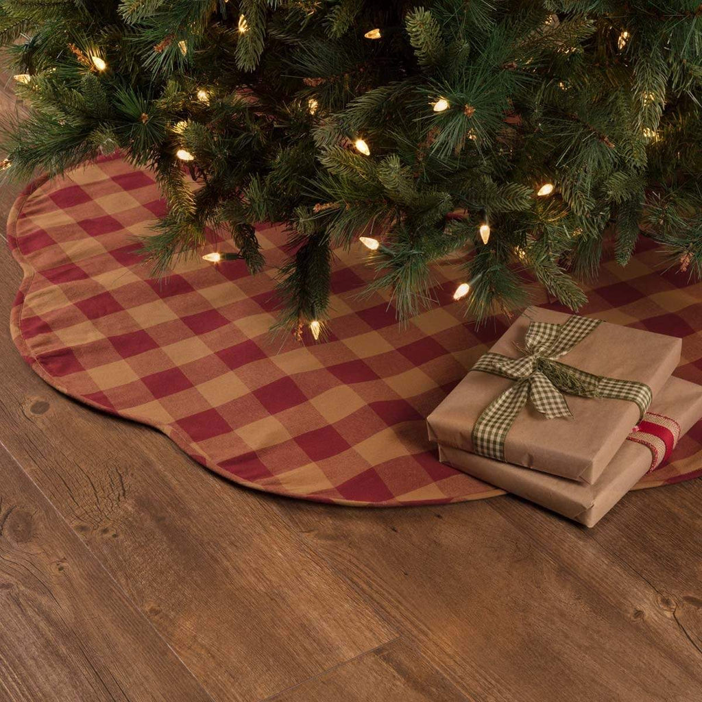 Seasons Crest Tree Skirt Burgundy Check Scalloped Tree Skirt 48