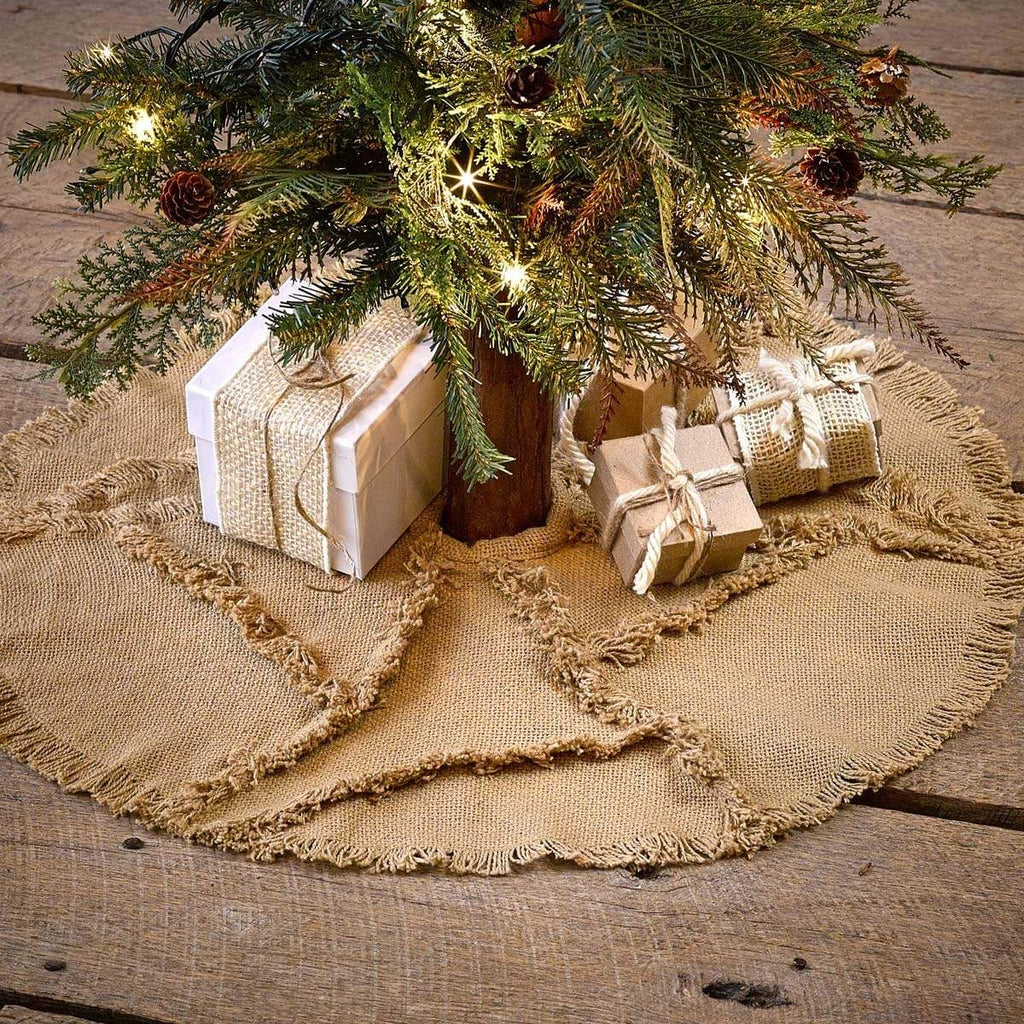 Seasons Crest Tree Skirt Burlap Natural Reverse Seam Mini Tree Skirt 21