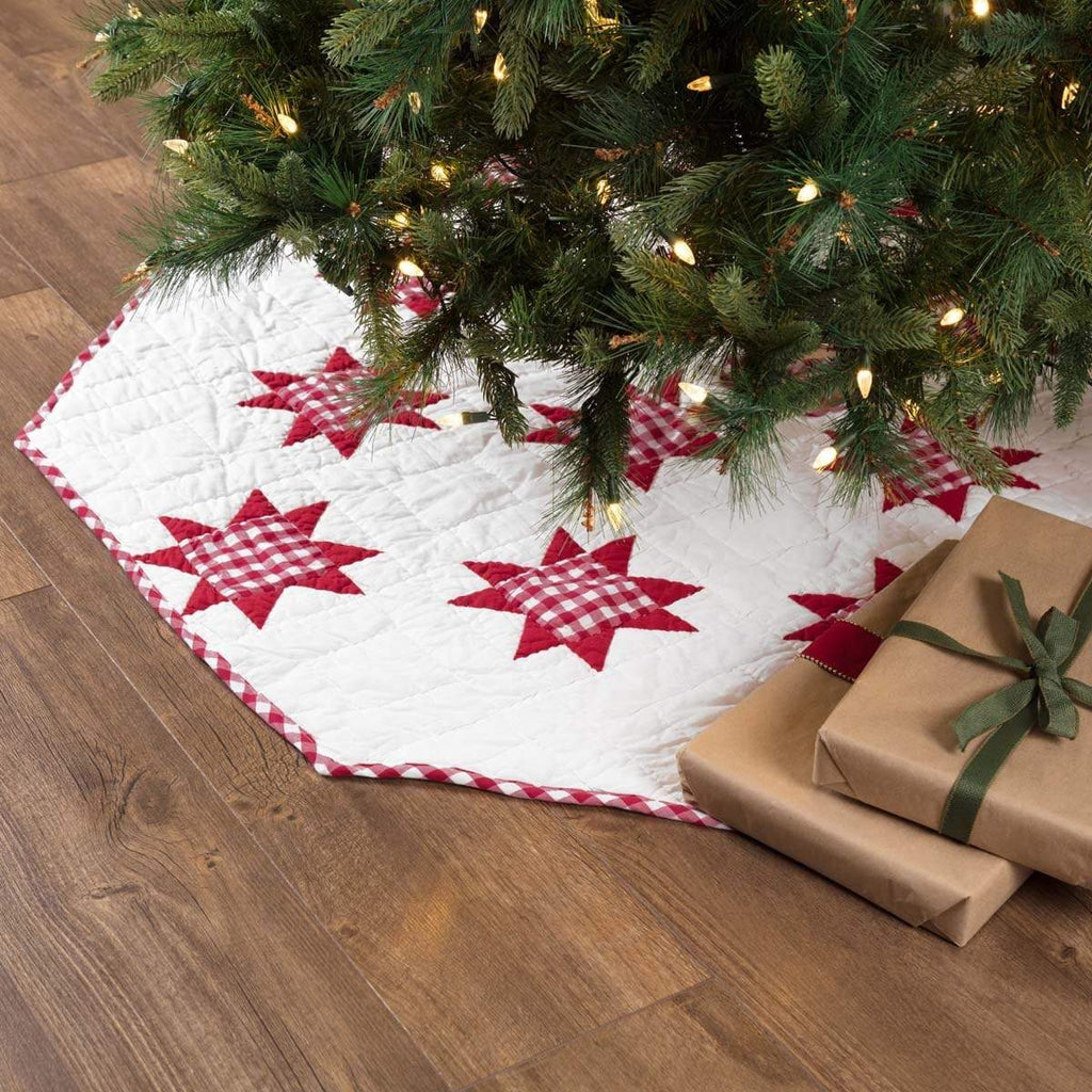 Seasons Crest Tree Skirt Emmie Red Patchwork Tree Skirt 60