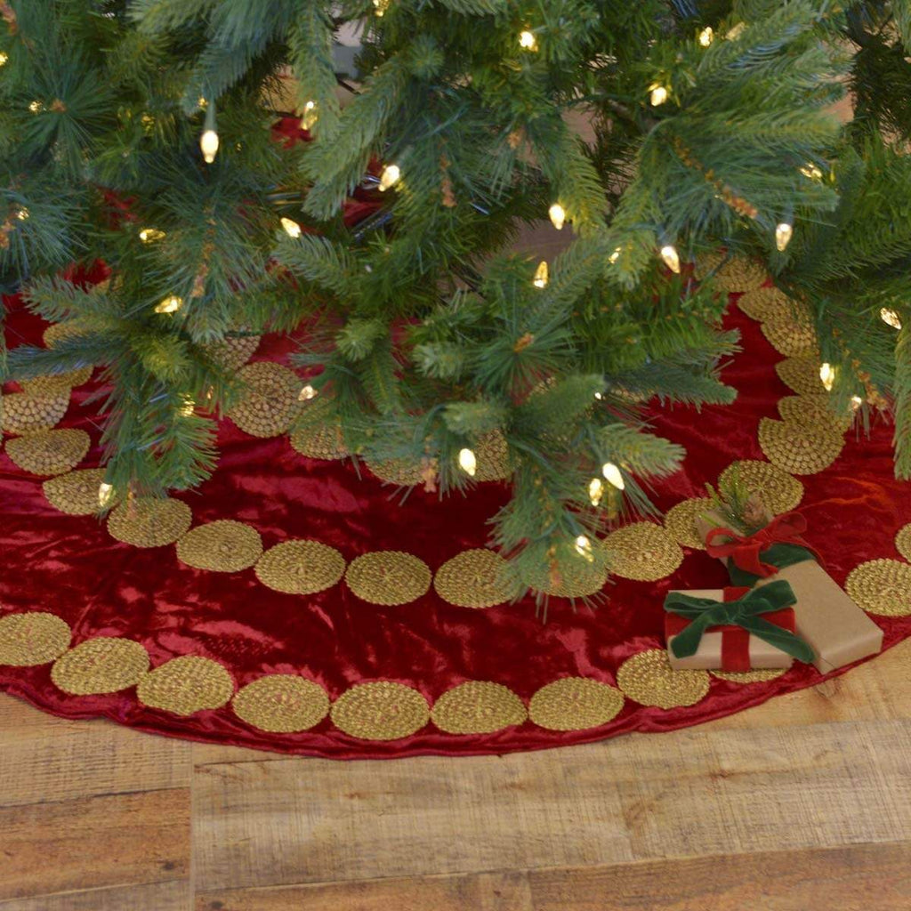 Seasons Crest Tree Skirt Memories Red Tree Skirt 48