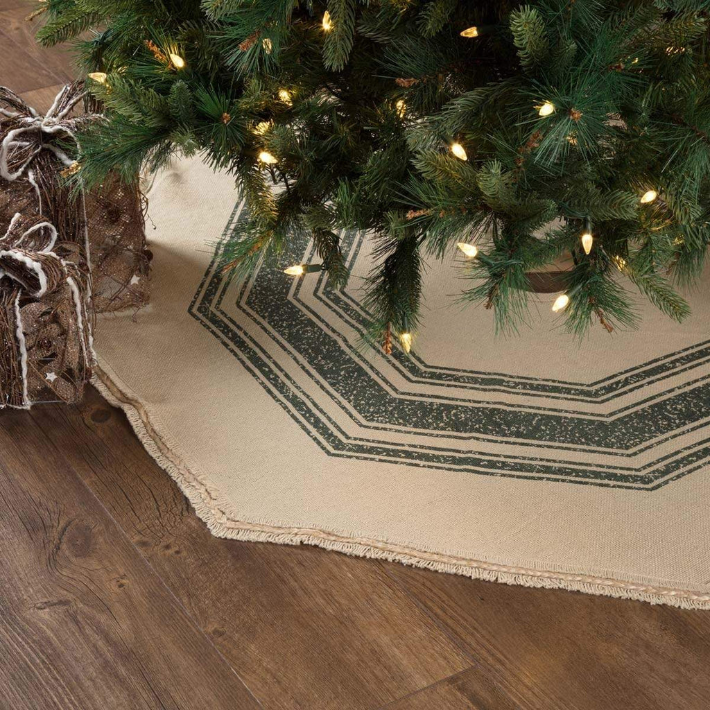 Seasons Crest Tree Skirt Vintage Burlap Stripe Green Tree Skirt 48
