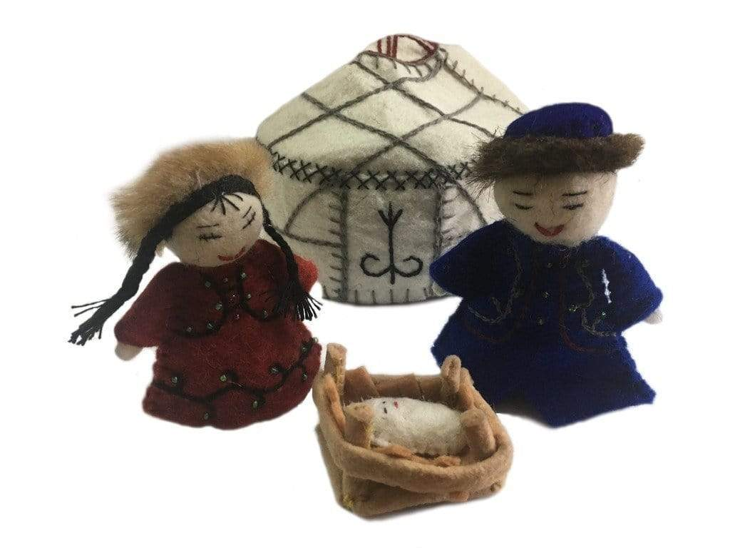 Silk Road Bazaar (O) Holiday Felt Yurt Nativity White - Silk Road Bazaar (O)