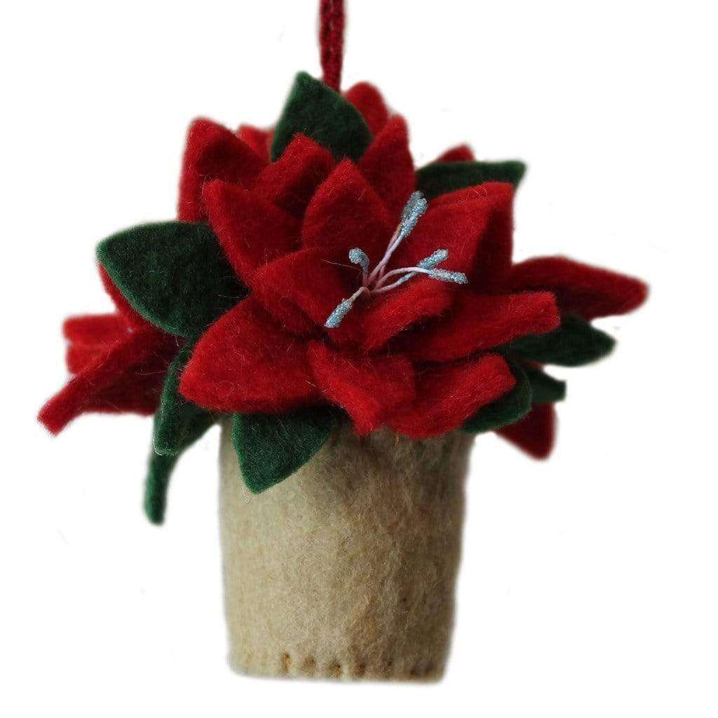 Silk Road Bazaar (O) Holiday Poinsettia Felt Ornament - Silk Road Bazaar (O)