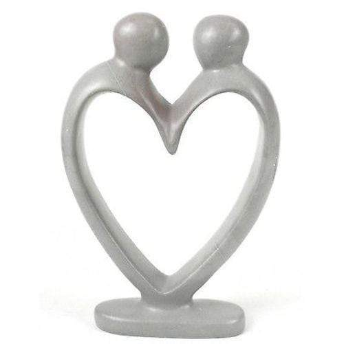 Smolart Soapstone Handcrafted Soapstone Lover's Heart Sculpture in White - Smolart
