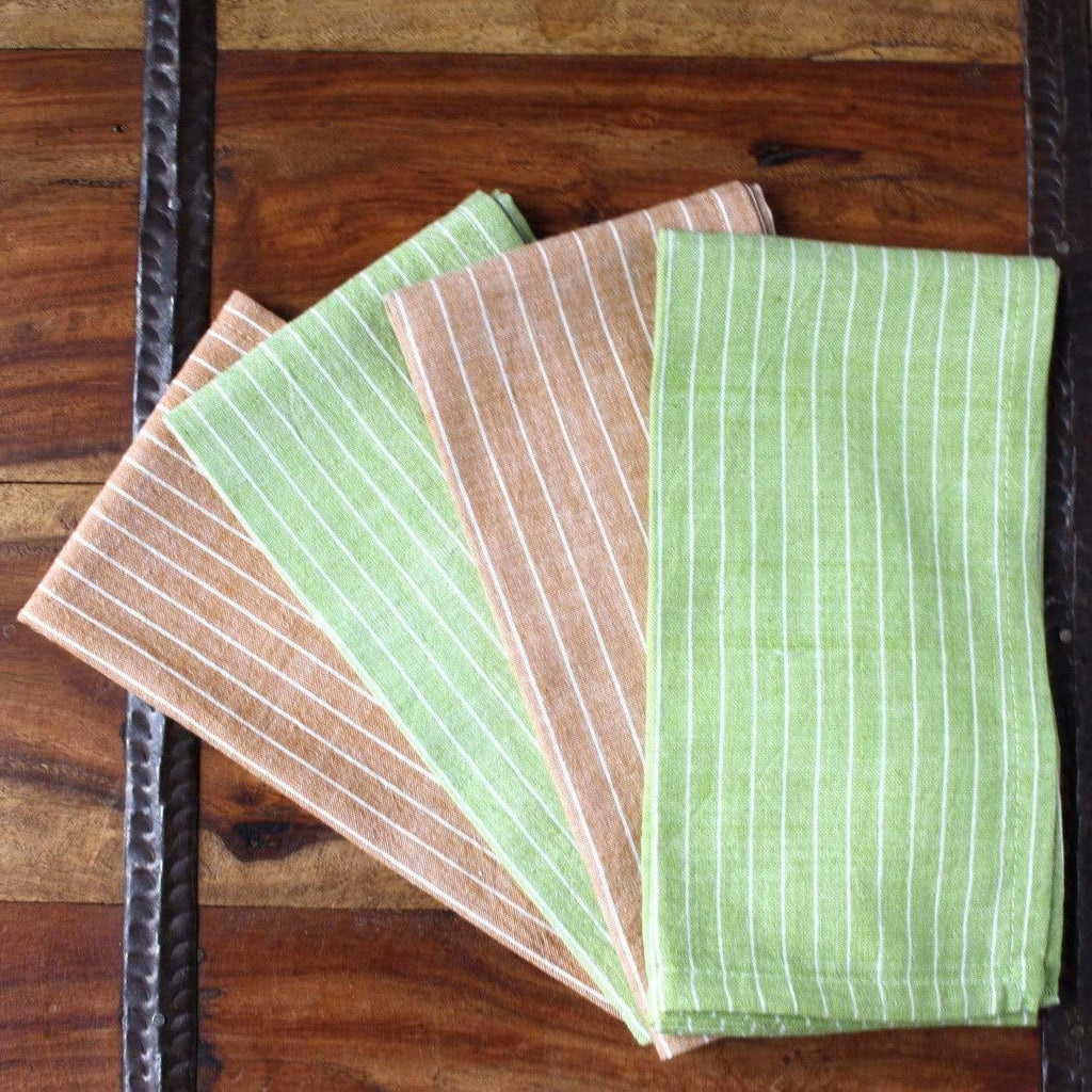 Sustainable Threads (L) Home Decor-Linens Green Caramel 16 inch Cotton Napkin Set of 4 - Sustainable Threads (L)
