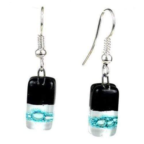 Tili Glass Tili Glass Black Tie Design Small Glass Earrings - Tili Glass