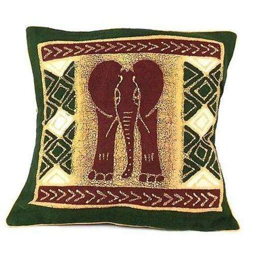 Tonga Textiles Tonga Textiles Handmade Green and Maroon Elephant Batik Cushion Cover - Tonga Textiles