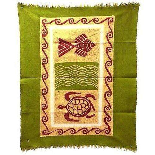 Tonga Textiles Tonga Textiles Sea Life Batik in Green/Yellow/Red - Tonga Textiles