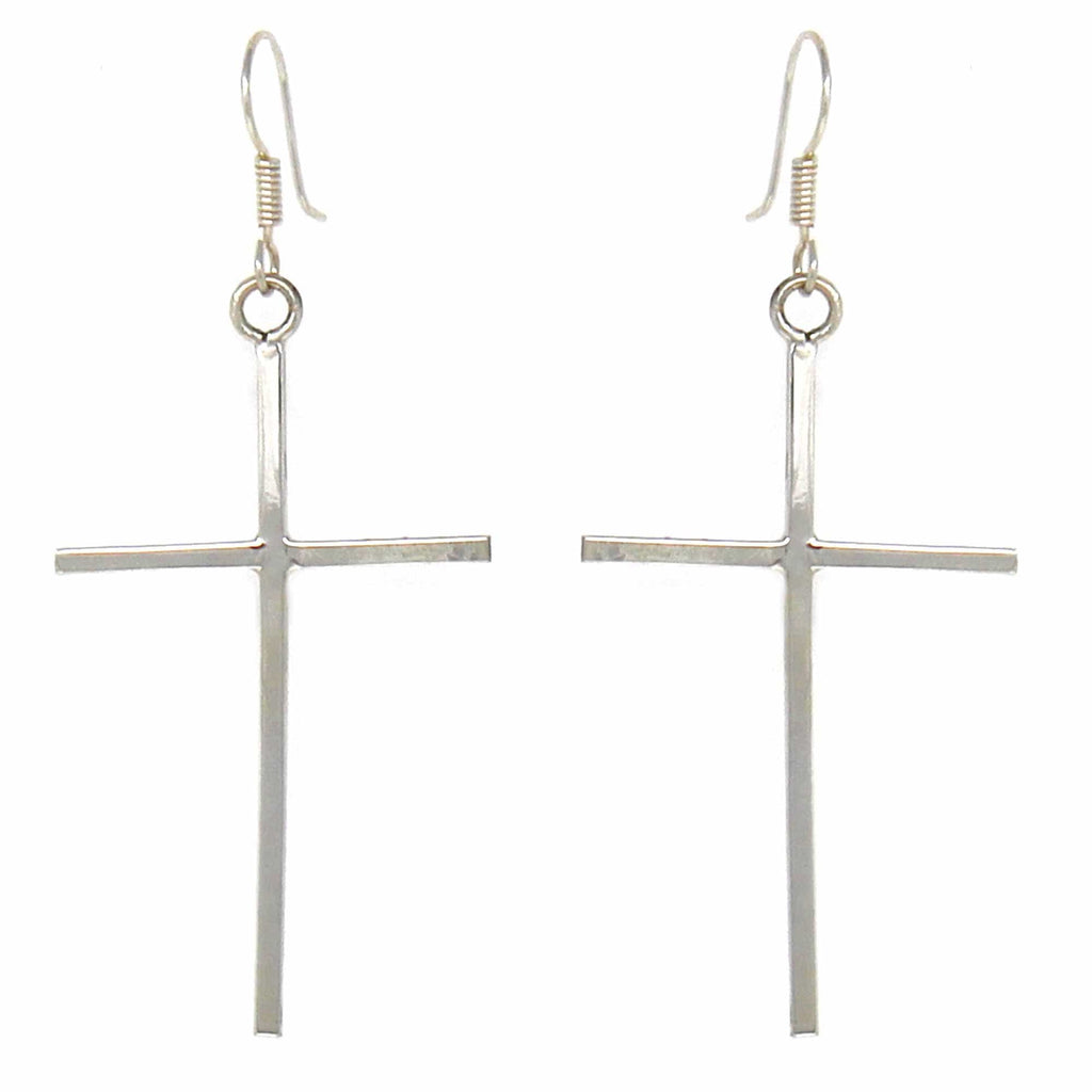 UPA Jewelry Sterling Silver Cross Drop Earrings