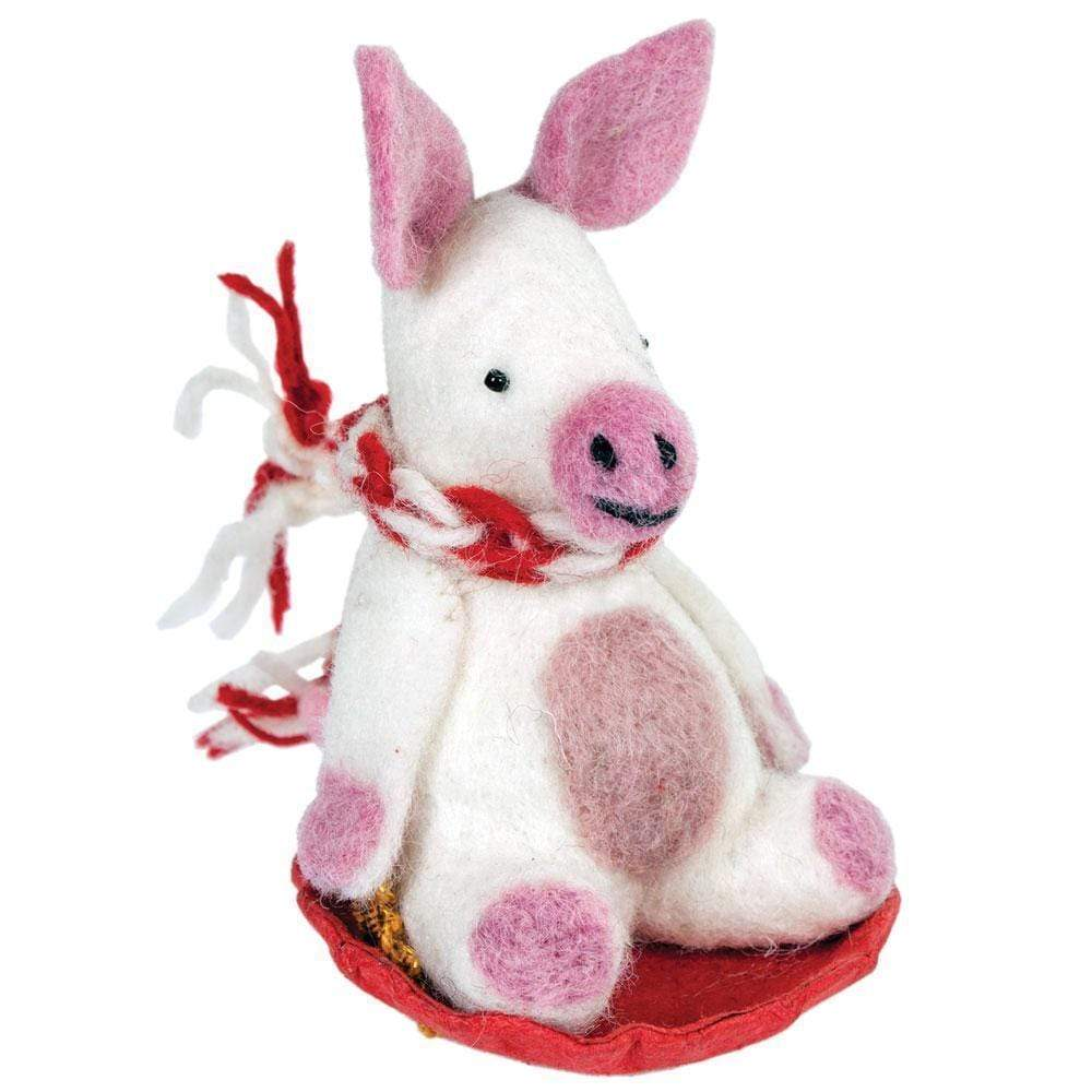 Wild Woolies (H) Holiday Piggles the Pig Felt Ornament - Wild Woolies (H)