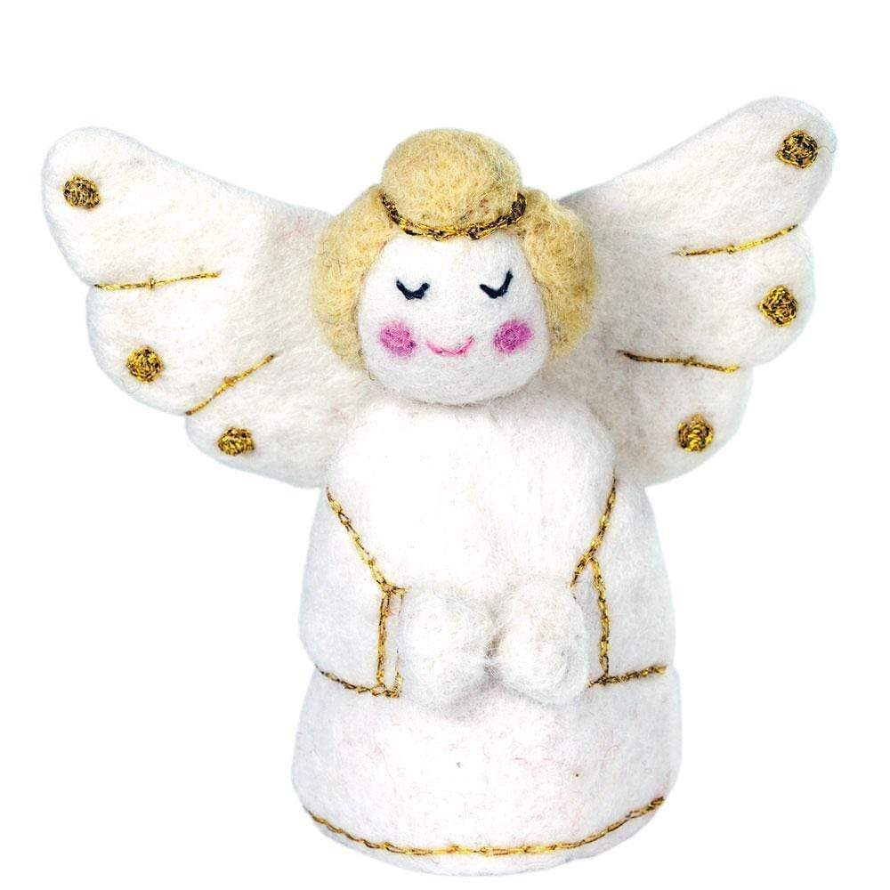 Wild Woolies (H) Holiday White Golden Angel Felt Ornament - Wild Woolies (H)