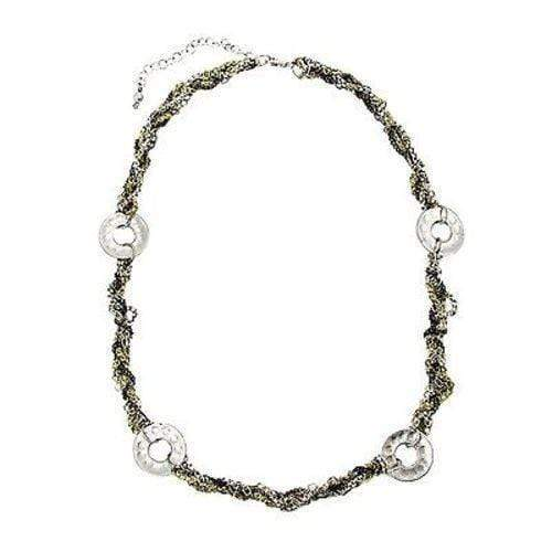 WorldFinds World Finds Dotted Disc Metallic Chainlink Necklace - WorldFinds