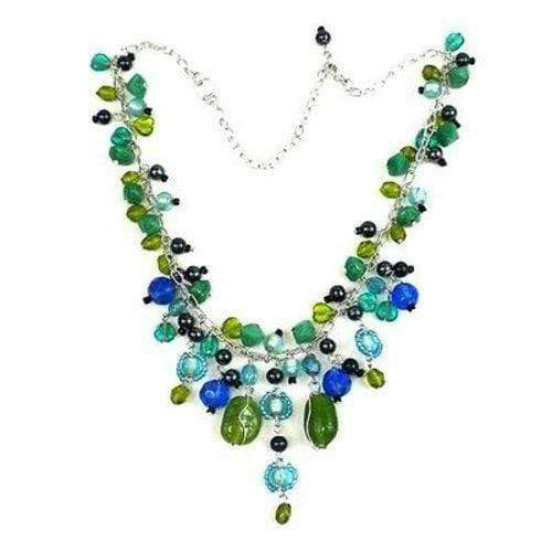 WorldFinds World Finds Green and Blue Glass Bead Charm Necklace - WorldFinds