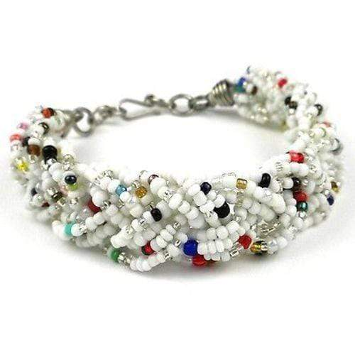 Zakali Creations Zakali Creations White Six Strand Braid Beaded Bracelet - Zakali Creations