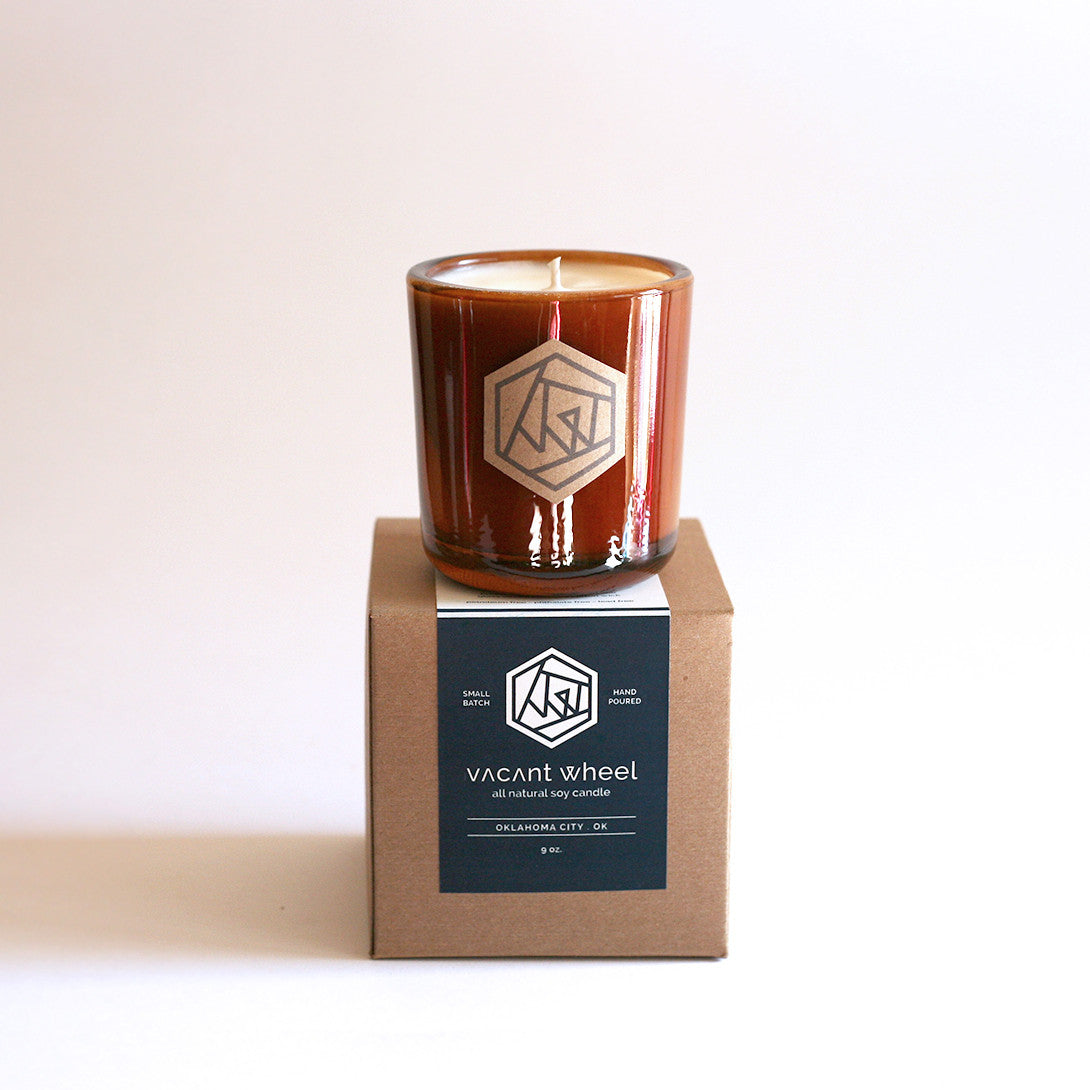 FIRESIDE Amber Recycled Glass Soy Candle