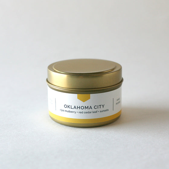 OKLAHOMA CITY 4 oz Travel Tin Soy Candle