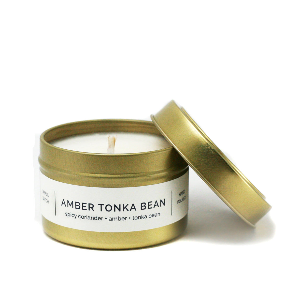 AMBER TONKA BEAN 4 oz Travel Tin Soy Candle