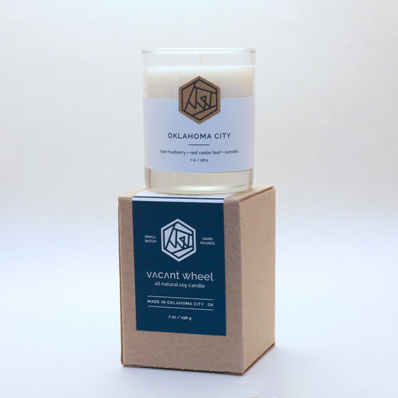 OKLAHOMA CITY Cocktail Glass Soy Candle