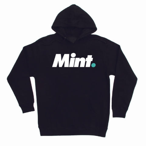 Mint. design screen printed using mint colored and white ink to black hoodies