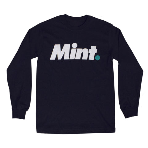 Mint. text design screen printed to a black long sleeve shirt using mint and white water based ink