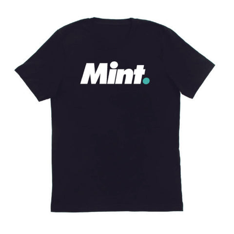 mint limited text based mint. design screen printed using white and mint colored inks to a 100% us-grown organic cotton black t-shirt