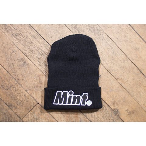 mint. limited og mint. beanie embroidered with black, mint, and white thread