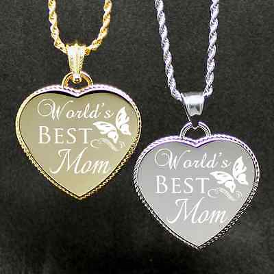 "Free Custom Engraved ""Worlds Best Mom"" Engraving Heart we will do on back"