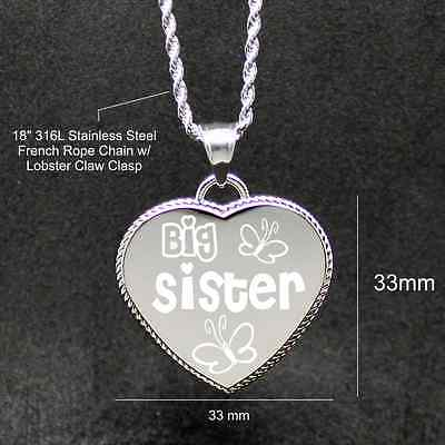 "Free Custom Engraving ""Big Sister Butterflies"" Engraved Heart we will engrave on"