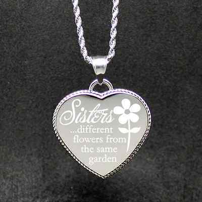 "Free Custom Engraving ""Sisters Same Garden"" Engraved Heart we will engrave on ba"