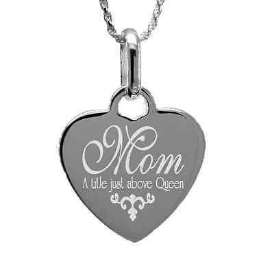 """Mom - Just Above Queen"" Necklace with free personalized engraving Sterling Silv"