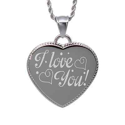 """I Love You"" design heart pendant necklace custom engraved I love you"