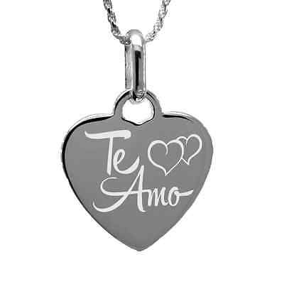 """Te Amo"" Necklace with free personalized engraving Sterling Silver"