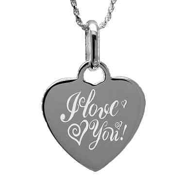 """I love you"" Mom Pendant Necklace with free personalized engraving Sterling Silv"