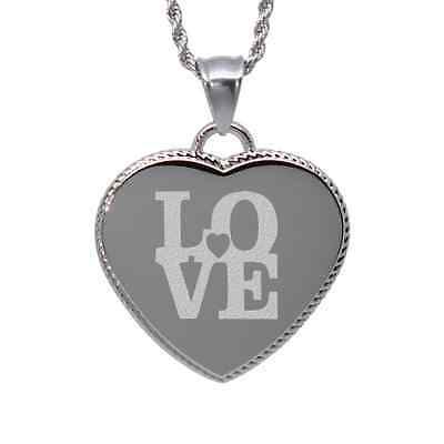 """Love with Heart"" design heart pendant necklace custom engraved I love you"