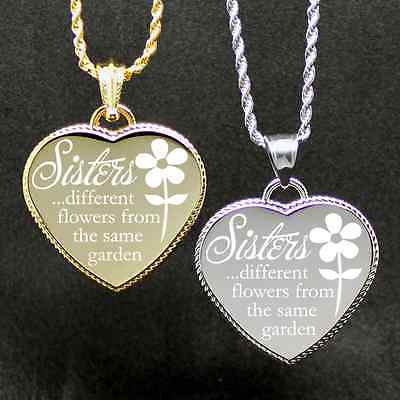 "Free Custom Engraved ""Sisters Same Garden"" Engraving Heart we will do on back"