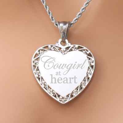 Cowgirl at heart necklace pendant engravable perfect gift for a loved one