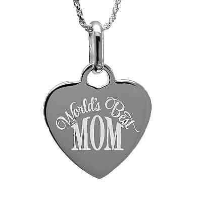 World's Best Mom Pendant Necklace with free personalized engraving