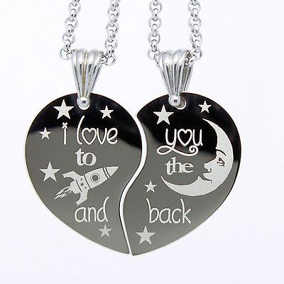 I love you to the Moon and Back Split Heart Pendant w/ Free engraving on back